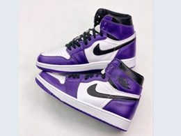 Mens Nike Air Jordan 1 Court Purple High Running Shoes One Color