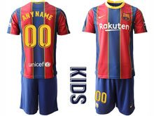 Youth 20-21 Soccer Barcelona Club ( Custom Made ) Red And Blue Stripe Home Short Sleeve Suit Jersey
