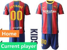 Youth 20-21 Soccer Barcelona Club Current Player Red And Blue Stripe Home Short Sleeve Suit Jersey