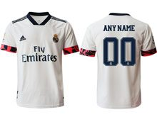 Mens 20-21 Soccer Real Madrid Club ( Custom Made ) White Home Thailand Short Sleeve Jersey
