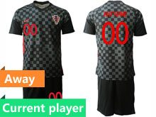 Mens Soccer Croatia National Current Player Black 2020 European Cup Away Short Sleeve Suit Jersey