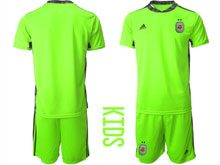 Youth 20-21 Soccer Argentina National Team ( Custom Made ) Fluorescence Green Goalkeeper Short Sleeve Suit Jersey