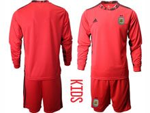 Youth 20-21 Soccer Argentina National Team ( Custom Made ) Red Goalkeeper Long Sleeve Suit Jersey