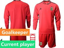 Youth 20-21 Soccer Argentina National Team Current Player Red Goalkeeper Long Sleeve Suit Jersey