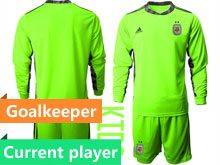 Youth 20-21 Soccer Argentina National Team Current Player Fluorescence Green Goalkeeper Long Sleeve Suit Jersey