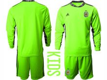 Youth 20-21 Soccer Argentina National Team ( Custom Made ) Fluorescence Green Goalkeeper Long Sleeve Suit Jersey