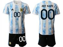 Mens 20-21 Soccer Argentina National Team ( Custom Made ) White Home Short Sleeve Suit Jersey