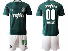 Mens 20-21 Soccer Se Palmeiras Club ( Custom Made ) Green Home Short Sleeve Suit Jersey
