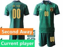 Kids Soccer Italy National Team Current Player Green 2020 European Cup Second Away Short Sleeve Suit Jersey