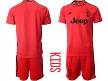 Youth 20-21 Soccer Juventus Club ( Custom Made ) Red Goalkeeper Short Sleeve Suit Jersey