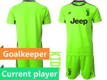 Youth 20-21 Soccer Juventus Club Current Player Fluorescence Green Goalkeeper Short Sleeve Suit Jersey