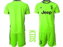 Youth 20-21 Soccer Juventus Club ( Custom Made ) Fluorescence Green Goalkeeper Short Sleeve Suit Jersey