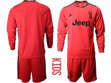 Youth 20-21 Soccer Juventus Club ( Custom Made ) Red Goalkeeper Long Sleeve Suit Jersey