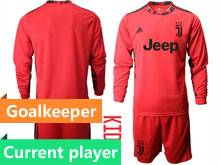 Youth 20-21 Soccer Juventus Club Current Player Red Goalkeeper Long Sleeve Suit Jersey
