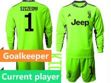 Youth 20-21 Soccer Juventus Club Current Player Fluorescence Green Goalkeeper Long Sleeve Suit Jersey