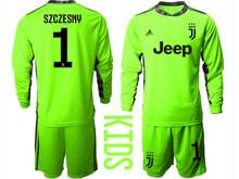Youth 20-21 Soccer Juventus Club ( Custom Made ) Fluorescence Green Goalkeeper Long Sleeve Suit Jersey