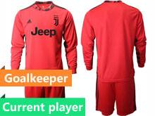 Mens 20-21 Soccer Juventus Club Current Player Red Goalkeeper Long Sleeve Suit Jersey