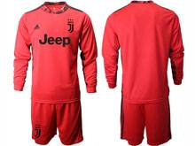 Mens 20-21 Soccer Juventus Club ( Custom Made ) Red Goalkeeper Long Sleeve Suit Jersey