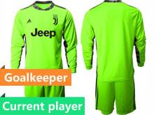 Mens 20-21 Soccer Juventus Club Current Player Fluorescence Green Goalkeeper Long Sleeve Suit Jersey