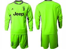 Mens 20-21 Soccer Juventus Club ( Custom Made ) Fluorescence Green Goalkeeper Long Sleeve Suit Jersey
