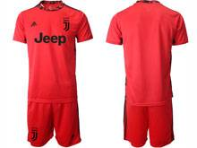 Mens 20-21 Soccer Juventus Club ( Custom Made ) Red Goalkeeper Short Sleeve Suit Jersey