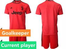 Mens 20-21 Soccer Juventus Club Current Player Red Goalkeeper Short Sleeve Suit Jersey