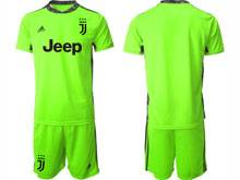 Mens 20-21 Soccer Juventus Club ( Custom Made ) Fluorescence Green Goalkeeper Short Sleeve Suit Jersey