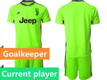 Mens 20-21 Soccer Juventus Club Current Player Fluorescence Green Goalkeeper Short Sleeve Suit Jersey