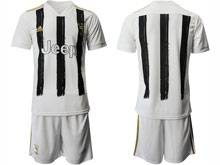 Mens 20-21 Soccer Juventus Club ( Custom Made ) White Black Stripe Home Short Sleeve Suit Jersey