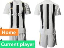 Mens 20-21 Soccer Juventus Club Current Player White Black Stripe Home Short Sleeve Suit Jersey