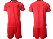 Mens Soccer Germany Ntaional Team ( Custom Made ) Red 2020 European Cup Goalkeeper Short Sleeve Suit Jersey