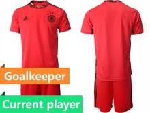 Mens Soccer Germany Ntaional Team Current Player Red 2020 European Cup Goalkeeper Short Sleeve Suit Jersey