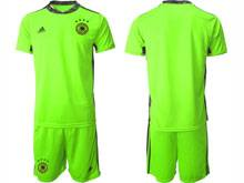 Mens Soccer Germany Ntaional Team ( Custom Made ) Fluorescence Green 2020 European Cup Goalkeeper Short Sleeve Suit Jersey