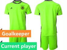 Mens Soccer Germany Ntaional Team Current Player Fluorescence Green 2020 European Cup Goalkeeper Short Sleeve Suit Jersey