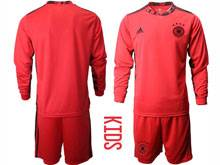 Youth Soccer Germany Ntaional Team ( Custom Made ) Red 2020 European Cup Goalkeeper Long Sleeve Suit Jersey