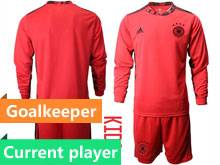 Youth Soccer Germany Ntaional Team Current Player Red 2020 European Cup Goalkeeper Long Sleeve Suit Jersey