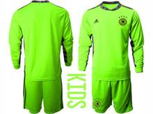 Youth Soccer Germany Ntaional Team ( Custom Made ) Fluorescence Green 2020 European Cup Goalkeeper Long Sleeve Suit Jersey