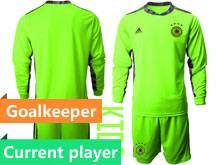 Youth Soccer Germany Ntaional Team Current Player Fluorescence Green 2020 European Cup Goalkeeper Long Sleeve Suit Jersey