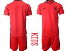 Youth Soccer Germany Ntaional Team ( Custom Made ) Red 2020 European Cup Goalkeeper Short Sleeve Suit Jersey