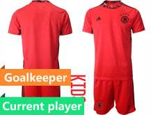 Youth Soccer Germany Ntaional Team Current Player Red 2020 European Cup Goalkeeper Short Sleeve Suit Jersey