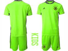 Youth Soccer Germany Ntaional Team ( Custom Made ) Fluorescence Green 2020 European Cup Goalkeeper Short Sleeve Suit Jersey