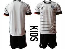 Youth Soccer Germany Ntaional Team ( Custom Made ) White 2020 European Cup Home Short Sleeve Suit Jersey