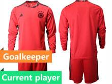 Mens Soccer Germany Ntaional Team Current Player Red 2020 European Cup Goalkeeper Long Sleeve Suit Jersey