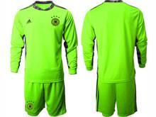 Mens Soccer Germany Ntaional Team ( Custom Made ) Fluorescence Green 2020 European Cup Goalkeeper Long Sleeve Suit Jersey