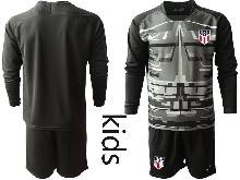 Youth 20-21 Soccer Usa National Team ( Custom Made ) Black Goalkeeper Long Sleeve Suit Jersey