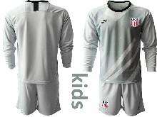 Youth 20-21 Soccer Usa National Team ( Custom Made ) Gray Goalkeeper Long Sleeve Suit Jersey