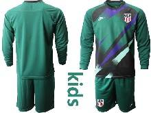 Youth 20-21 Soccer Usa National Team ( Custom Made ) Dark Green Goalkeeper Long Sleeve Suit Jersey