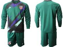 Mens 20-21 Soccer Usa National Team ( Custom Made ) Dark Green Goalkeeper Long Sleeve Suit Jersey