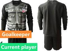 Mens 20-21 Soccer Usa National Team Current Player Black Goalkeeper Long Sleeve Suit Jersey