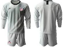 Mens 20-21 Soccer Usa National Team ( Custom Made ) Gray Goalkeeper Long Sleeve Suit Jersey